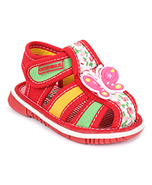 Cute Walk by Babyhug Sandals Butterfly Motif - Red