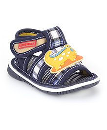 Cute Walk by Babyhug Sandals Crocodile Patch And Checks Print - Navy Blue