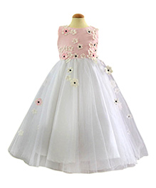 Simply Cute Dress With Net Flowers - White