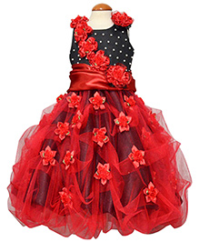 Simply Cute Dress With Handmade Flowers - Red
