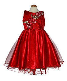 Simply Cute Sequence & Embroidered Motives On Yoke Bouquet Frock - Red