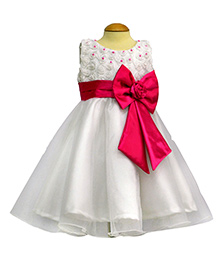 Simply Cute Belt On Big Bow Frock - White