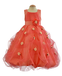 Simply Cute Handmade Flowers On Skirt Gown - Peach