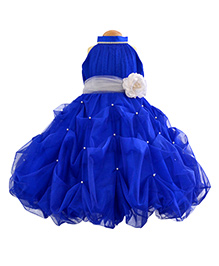 Simply Cute Crystal With Neck Band & Flower On Waist  & Pearls On Gown - Blue