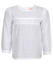 Budding Bees Long Sleeves Top - White