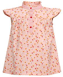 Budding Bees Floral A-Line Printed Dress - Peach