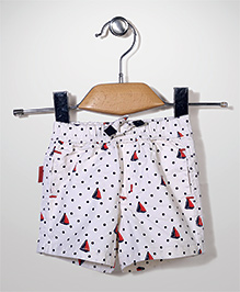 Spark Casual Shorts Dots and Boats Print - White