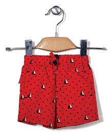 Spark Casual Shorts Dots and Boats Print - Red