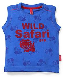 Spark Sleeveless T-Shirt Wild Safari Print - Blue