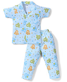 Doreme Half Sleeves Night Suit Bear Print - Sky Blue