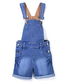 Babyhug Denim Dungaree With Heart Shape Pocket - Light Blue