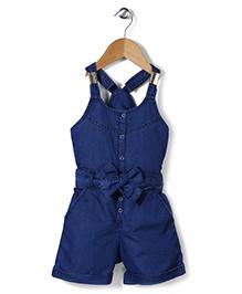 Babyhug Sleeveless Denim Jumpsuit With Fabric Belt - Dark Blue