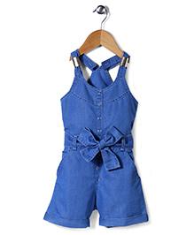 Babyhug Sleeveless Denim Jumpsuit With Fabric Belt - Blue