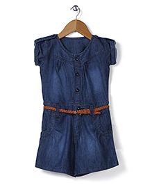 Babyhug Short Sleeves Denim Jumpsuit With Belt - Dark Blue