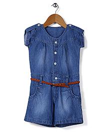Babyhug Short Sleeves Denim Jumpsuit With Belt - Blue