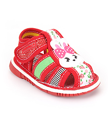 Cute Walk by Babyhug Sandals Bunny Patch And Floral Print - Red