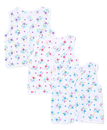 Babyhug Sleeveless Vests Pack of 3 Floral Print - White
