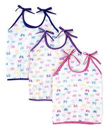 Babyhug Tie Up Jhabla Bear Print White Pink Blue - Set Of 3