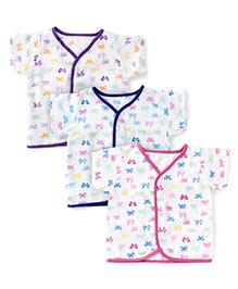 Babyhug Short Sleeves Bows Print Front Open Jhablas Pink Purple Royal Blue - Set Of 3
