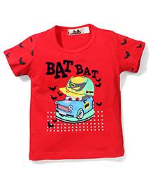 Poly Kids Car Print T-Shirt - Red