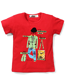 Poly Kids Printed T-Shirt - Red