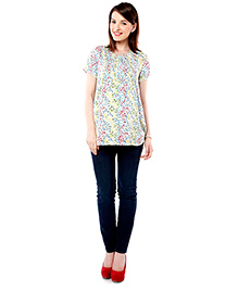 Nine Short Sleeves Maternity Nursing Blouse - Multicolor