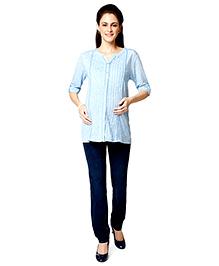 Nine Three Fourth Sleeves Maternity Blouse - Blue Melange