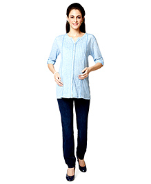 Nine Three Fourth Sleeves Maternity Blouse - Blue Melange