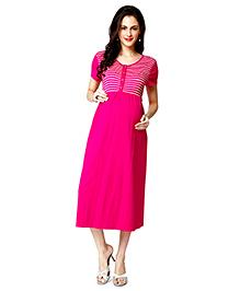 Nine Half Sleeves Maternity Nursing Dress Stripes - Pink