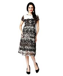 Nine Short Sleeves Printed Maternity Nursing Dress - Black