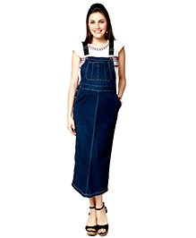 Nine Half Sleeves Maternity Dungree Style Dress - Blue
