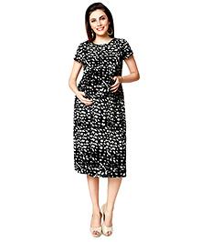 Nine Short Sleeves Maternity Gown Allover Print - Black