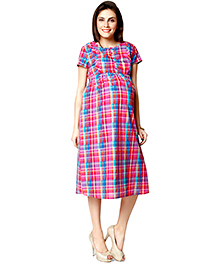 Nine Short Sleeves Maternity Gown Check Print - Multi Color