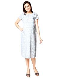 Nine Short Sleeves Maternity Gown Allover Print - White