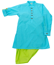 Little Stars Stylish Kurta Set - Aqua Blue & Green