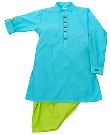 Little Stars Stylish Kurta Set - Aqua Blue & Green