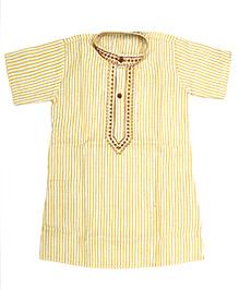 BownBee Half Sleeves Cotton Kurta - Yellow