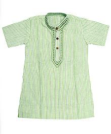 BownBee Half Sleeves Cotton Kurta - Green