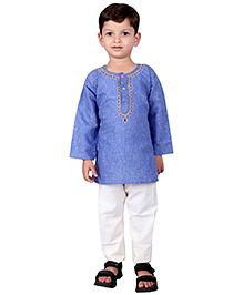 BownBee Kurta Pyjama Set With Embroidery - Blue