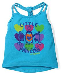 Vitamins Racerback Tank Top Little Princess Print - Aqua Blue