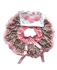 Tiny Closet Cheetah Print Skirt & Top Set - White & Pink