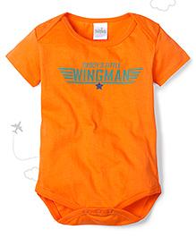 Babyhug Short Sleeves Onsesie Solid Color - Orange