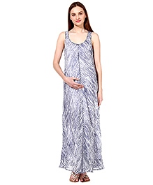 Oxolloxo Sleeveless Abstract Print Maxi Dress - Blue