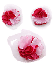 NeedyBee Floral Toe Blooms With Free Headband Combo Set - Pink And White