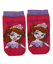 Mustang Ankle Length Socks Sofia the First Print - Fuchsia