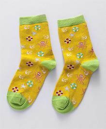 Mustang Ankle Length Socks Multi Design - Yellow Green