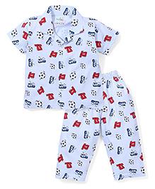 Babyhug Half Sleeves Night Suit Football Print - Blue