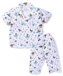 Babyhug Half Sleeves Night Suit Alien Print - White