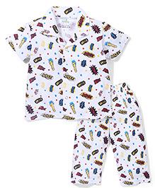 Babyhug Half Sleeves Night Suit Multi Print - White