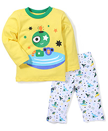 Babyhug Full Sleeves Night Suit Alien Print - Yellow White
